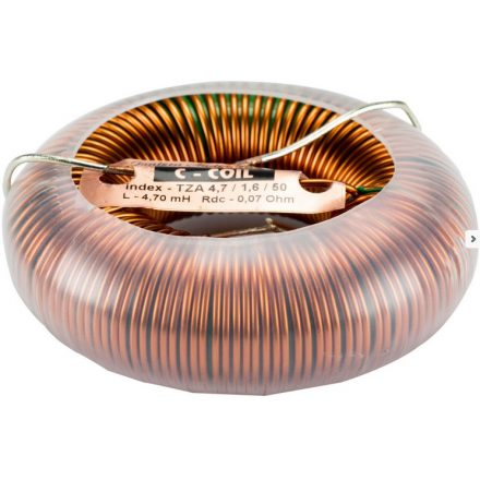 C-Coil toroid magos tekercs 3,3mH +/-5% 0,07Ω +/-10% 1500W / 8Ω wire 1,6mm=14AWG core-30 OD84 H