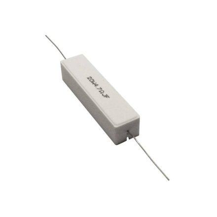 Kerámia huzalellenállás 75,00Ω 20W 5% méret.61/15/15mm - Hangfal/Hangfalépítés/Ellenállás/20W k