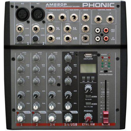 AM220P, keverő, 2 monó + 2 sztereó csatorna, USB - Keverő/Keverő, PA és Hangrögzítés