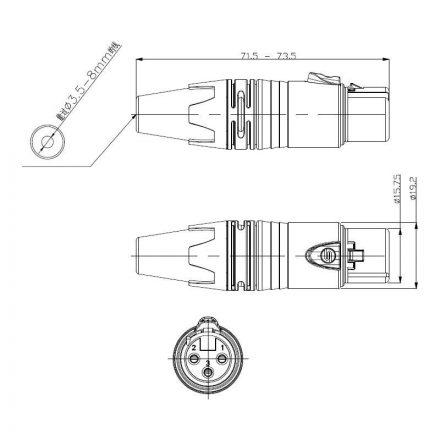 SC3FXX-BG XLR lengő mama csatlakozó, 3 pólusú, (fekete, aranyozott érinkezővel) - Kábel, csatl.