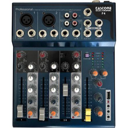Castone F-4 keverő, 2 monó + 1 sztereó csatorna + USB Lejátszó + Effekt