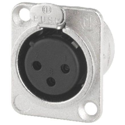 NC3FDL1 3 pólusú XLR aljzat ezüstözött érintkező - Kábel, csatl./Csatlakozó/XLR csatlakozó